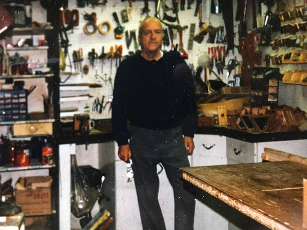 Grandfather in his shop - vintage crew neck