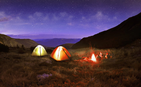 Camping at twilight - Start, Campfire, Tents