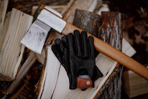 Holiday gift idea of black Buffalo Leather Gloves from Maroon Bell Outdoor