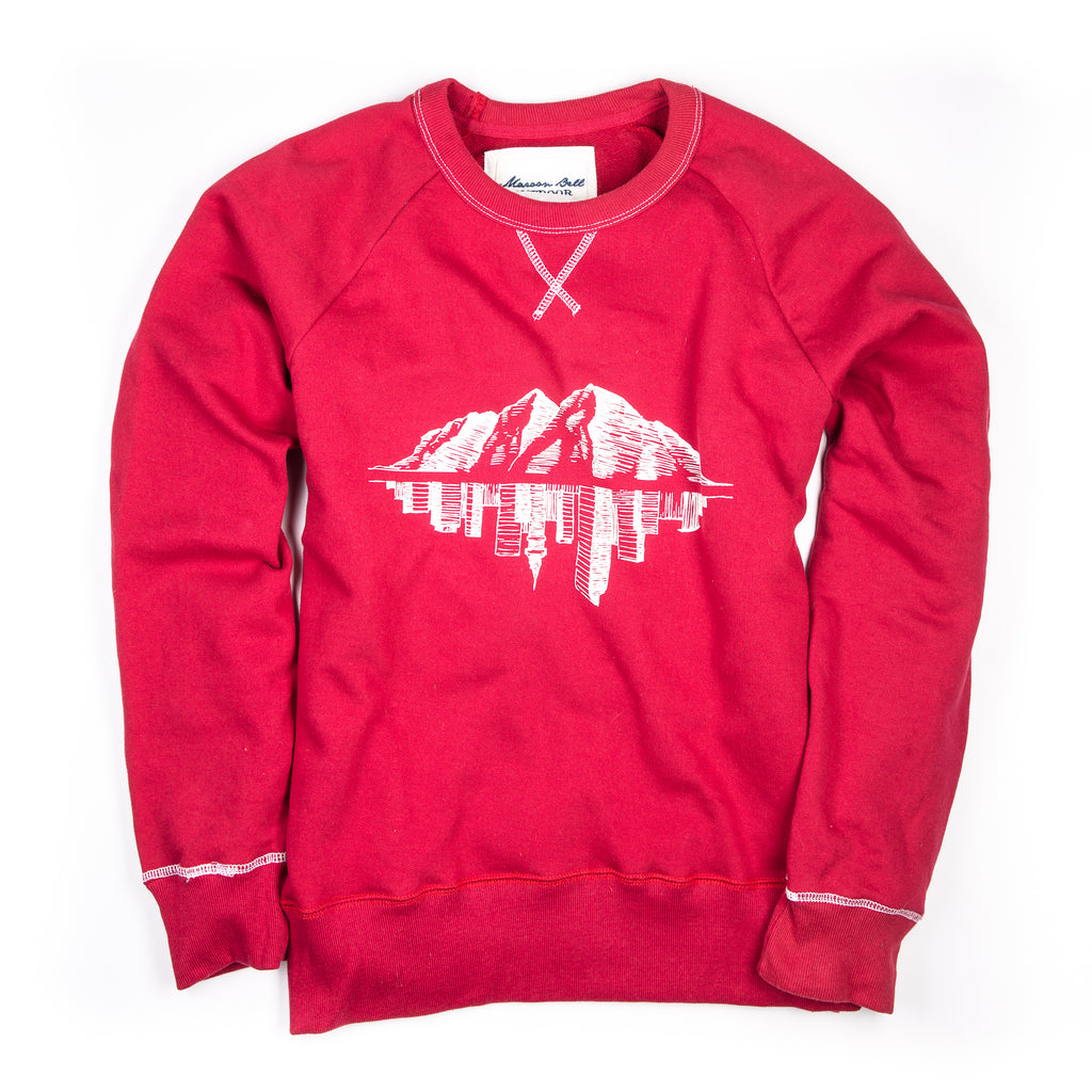 The Doc - Vintage Crew Neck Sweatshirt - Red | Maroon Bell Outdoor®