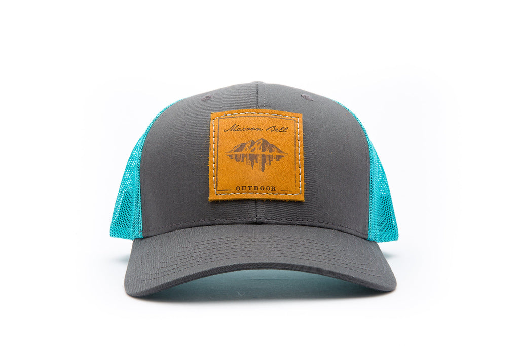 Mystic Blue Trucker Hat with Leather Patch | Maroon Bell Outdoor®