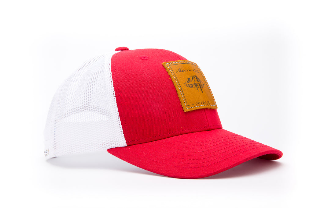 Red and White Trucker Hat with Leather Patch | Maroon Bell Outdoor®