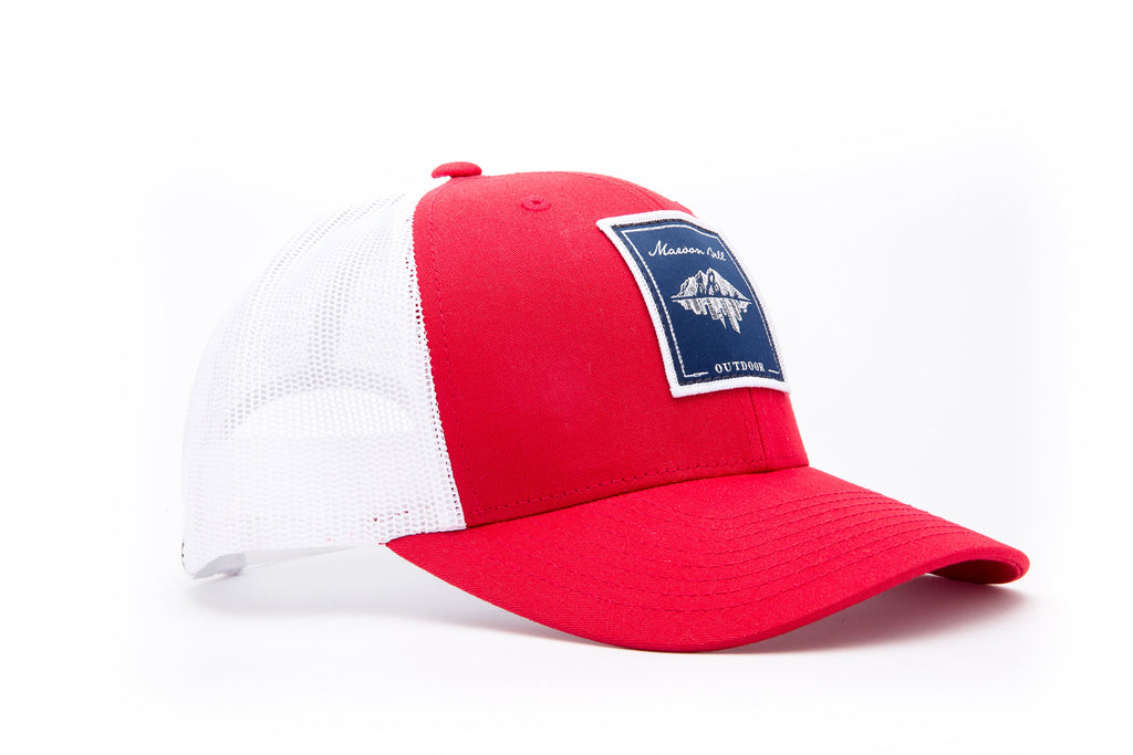 Red and White Trucker Hat with Blue Embroidered Patch | Maroon Bell Outdoor®