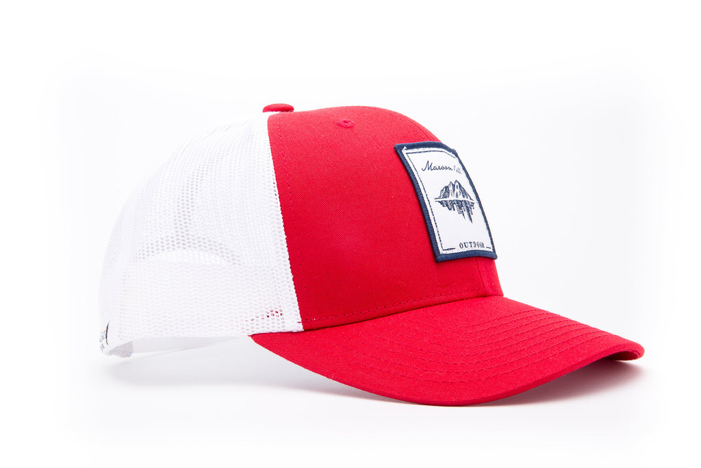 Red and White Trucker Hat with White Embroidered Patch | Maroon Bell Outdoor®