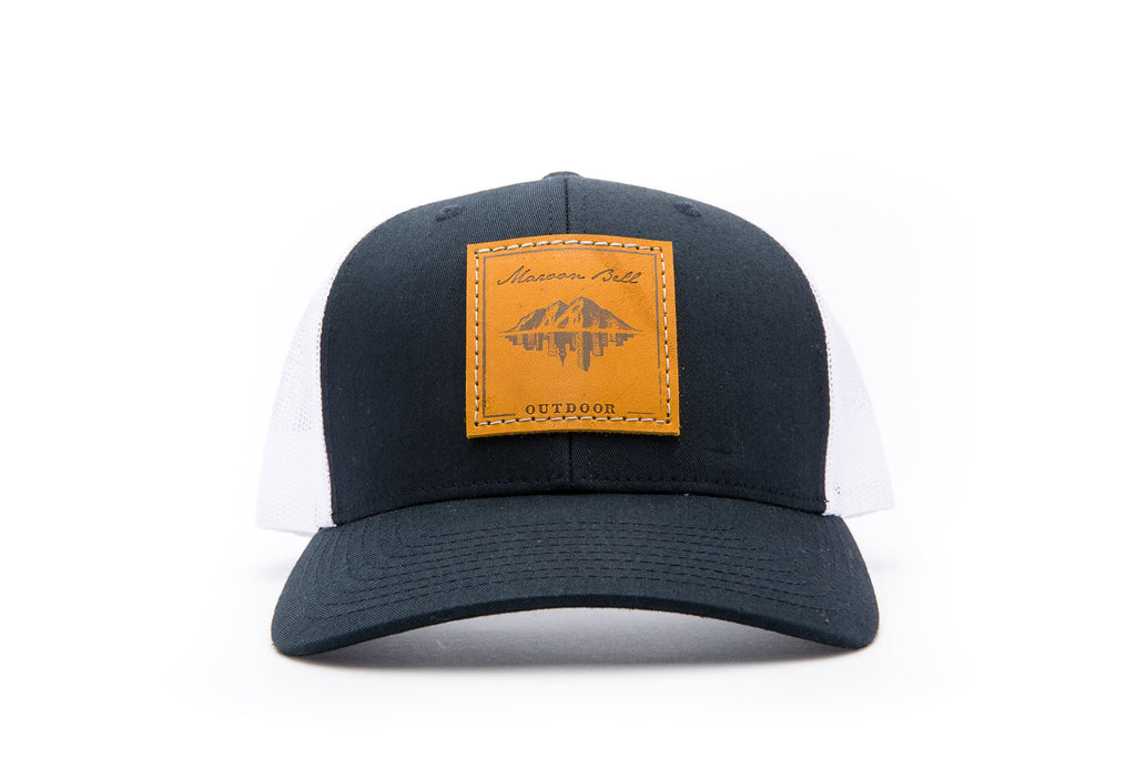 Navy Blue & White Trucker Hat | Leather | Maroon Bell Outdoor®