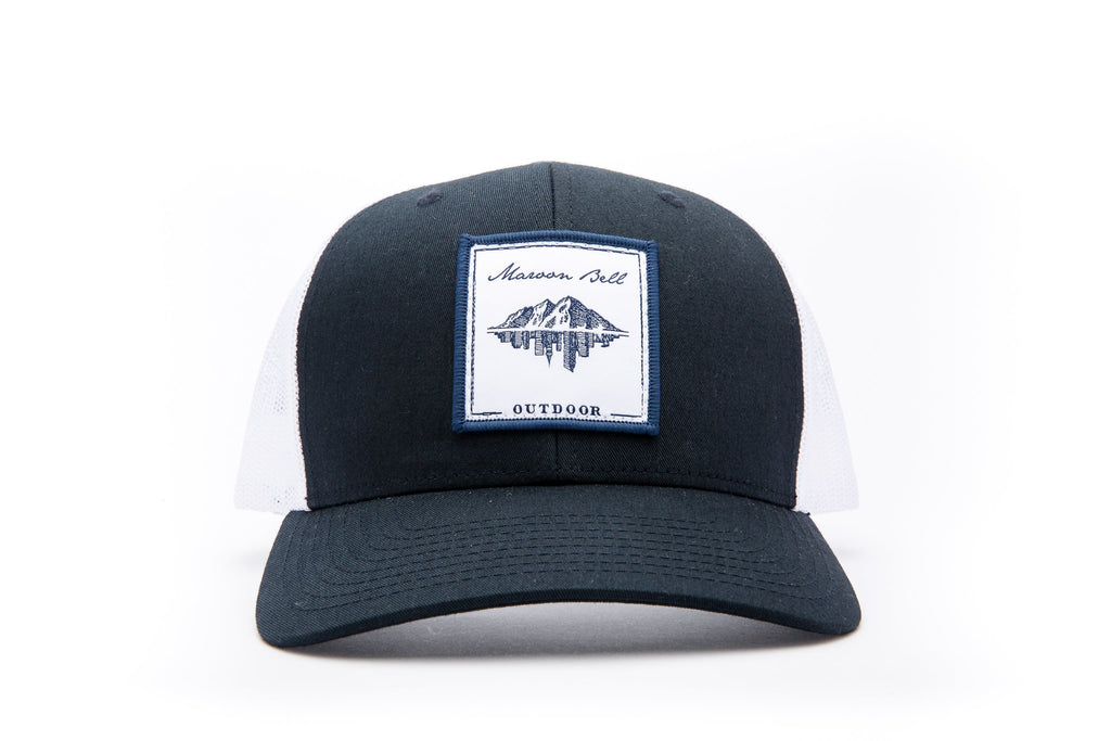 Navy Blue and White Trucker Hat | White Embroidered Patch | Maroon Bell Outdoor®