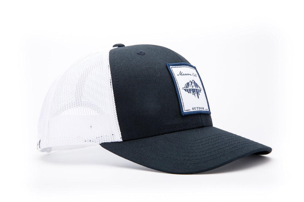 Navy Blue and White Trucker Hat | White Embroidered Patch