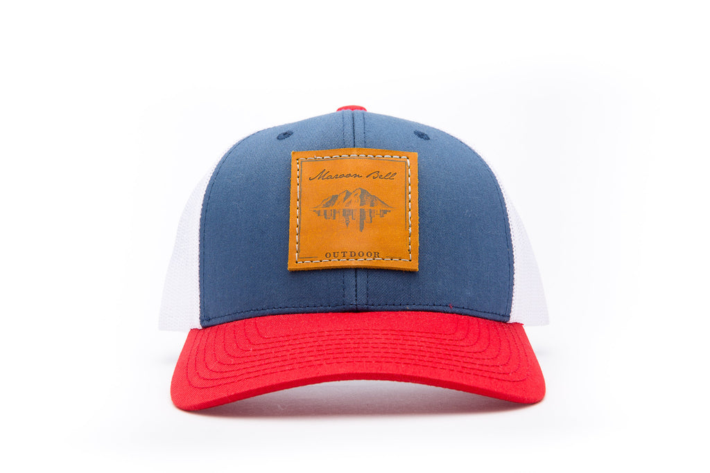 Red White & Blue Trucker Hat - Leather Patch | Maroon Bell Outdoor®