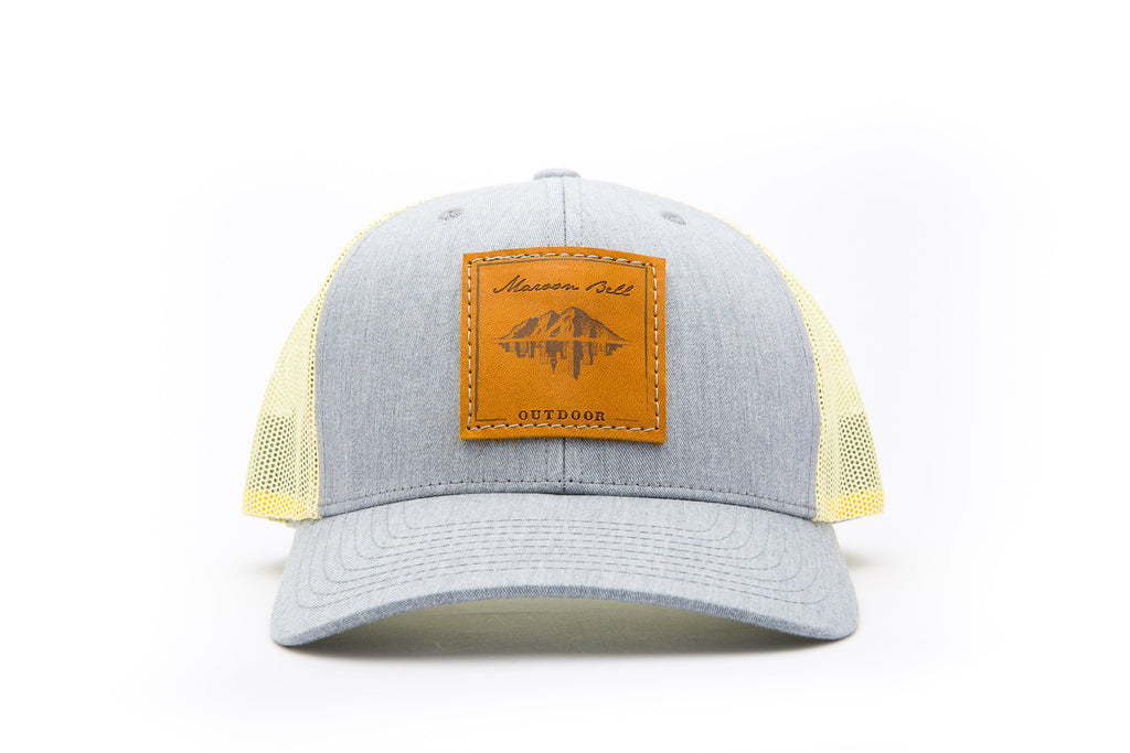 Yellow and Grey Trucker Hat with Leather Patch | Maroon Bell Outdoor®