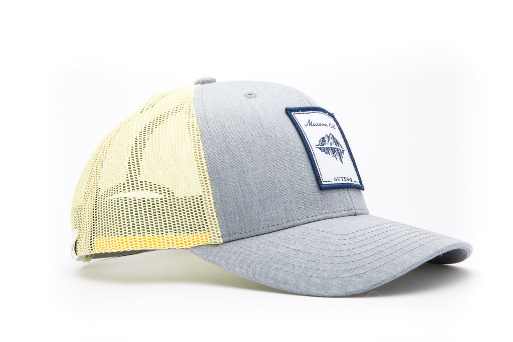Yellow and Grey Trucker Hat with White Patch | Maroon Bell Outdoor®