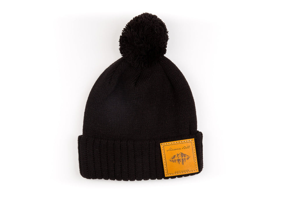 Urban Outdoor Beanie with Pom | Black | Maroon Bell Outdoor®