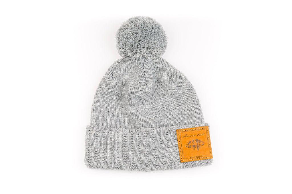Urban Outdoor Beanie with Pom | Grey | Maroon Bell Outdoor®