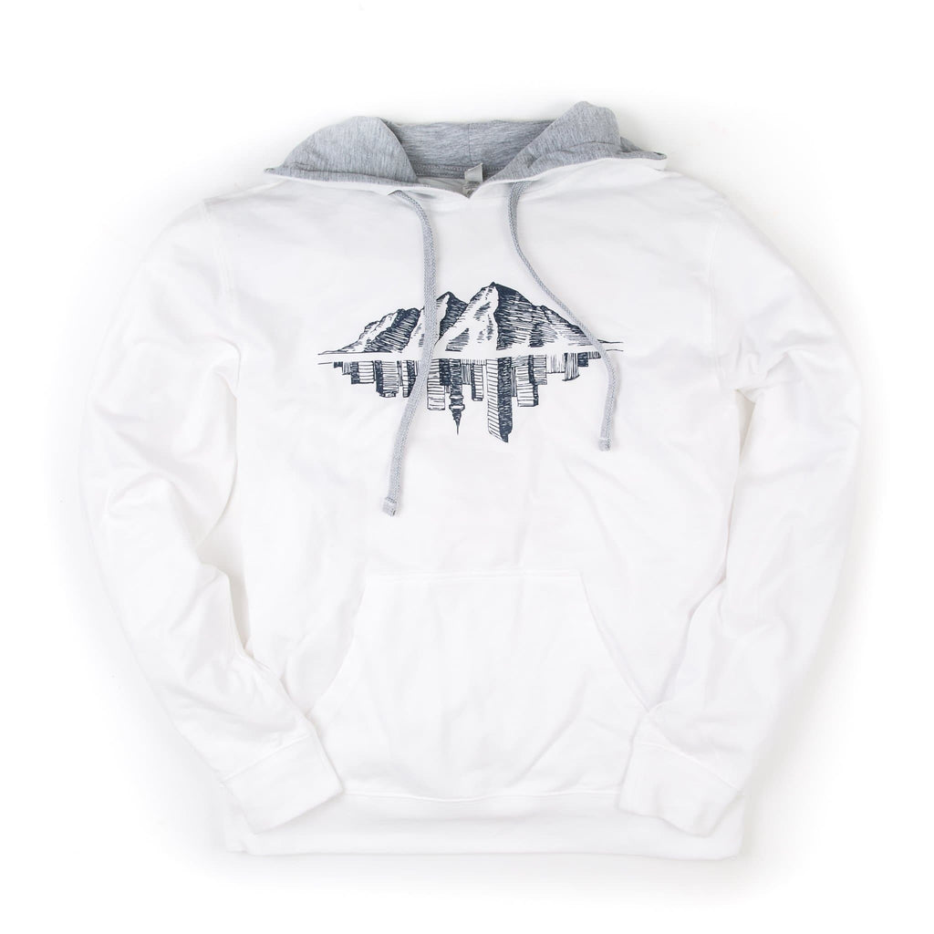 Hopkins Avenue Hoodie | Light French Terry | White | Maroon Bell Outdoor®