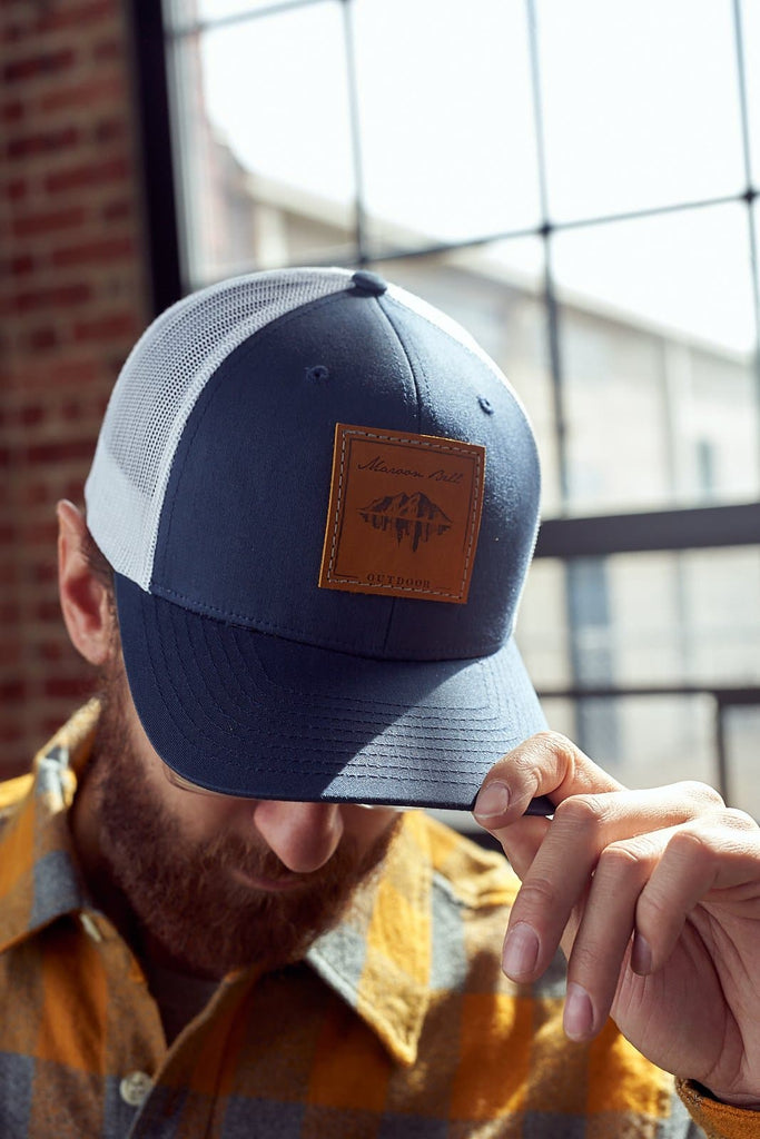 Navy Blue Trucker Hat | Leather | Maroon Bell Outdoor®