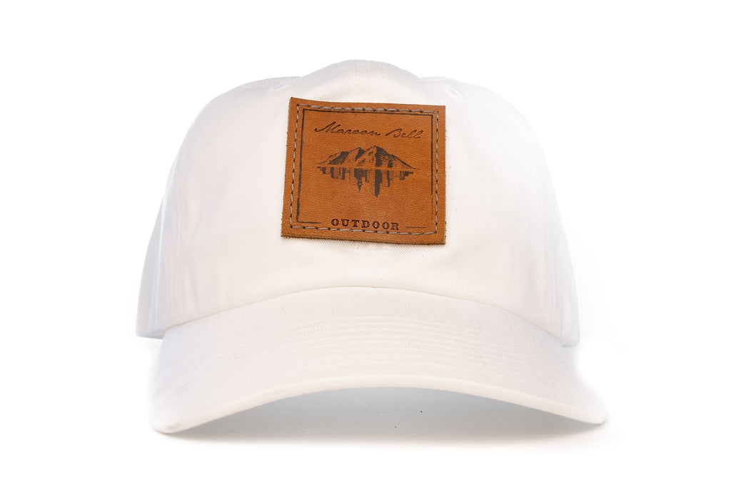 Urban Hiking Hat - White with Leather Patch Hats Maroon Bell Outdoor
