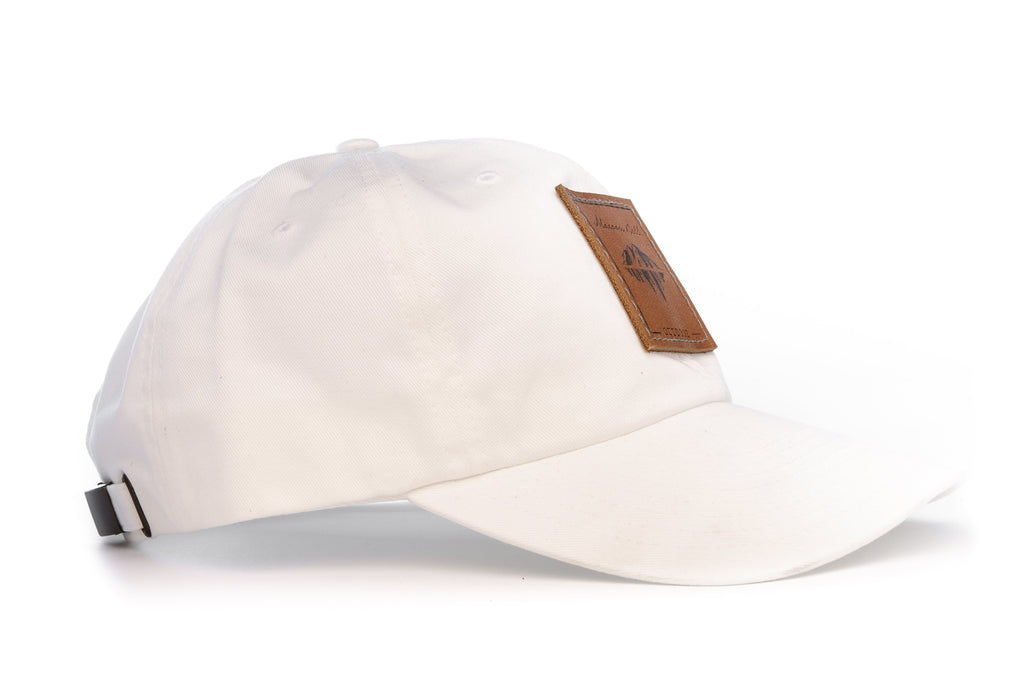 Urban Hiking Hat - White with Leather Patch Hats Maroon Bell Outdoor White - Leather Patch