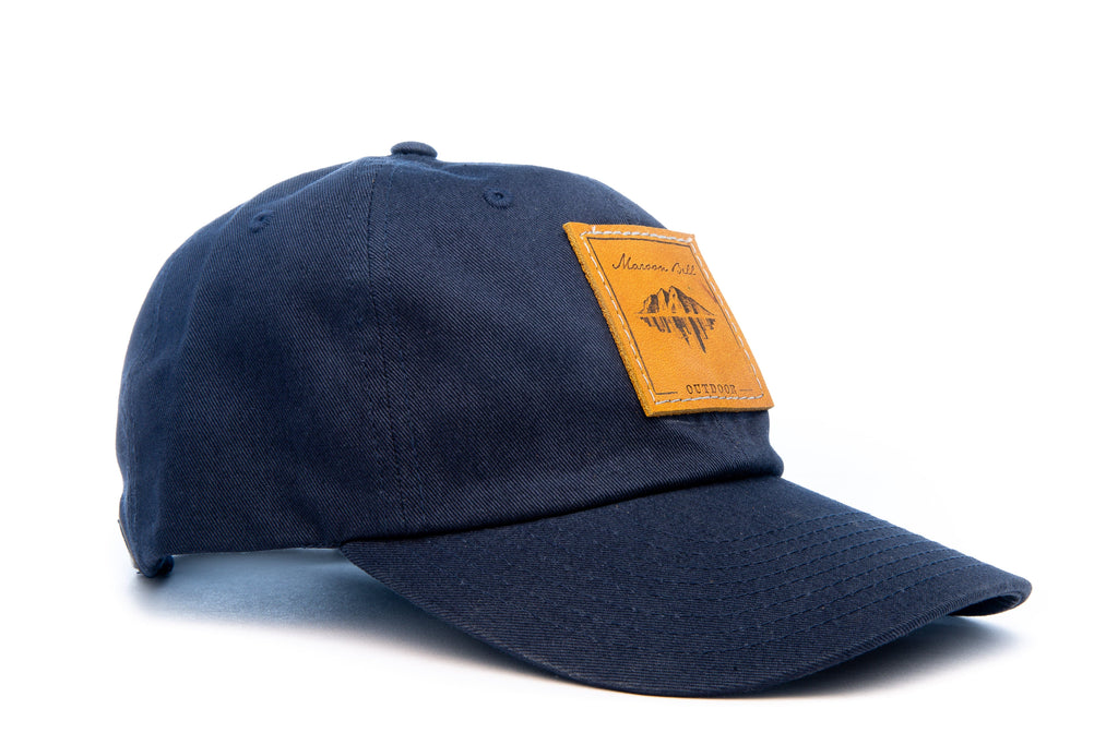 Urban Hiking Hat - Navy Blue with Leather Patch Hats Maroon Bell Outdoor Navy Blue - Leather Patch