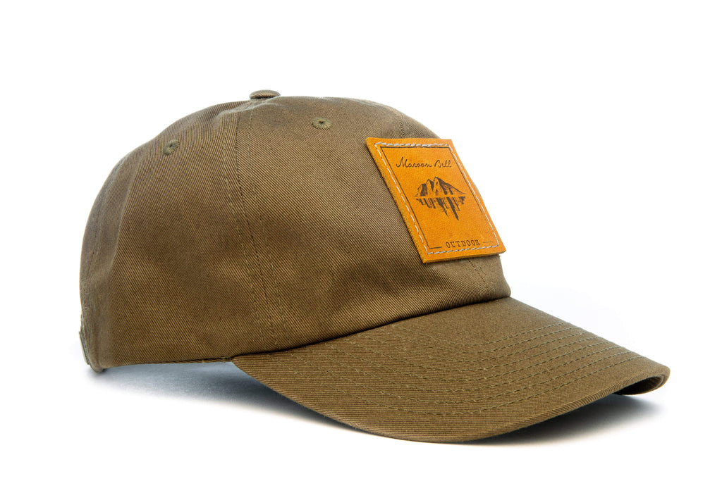 Urban Hiking Hat - Olive with Leather Patch