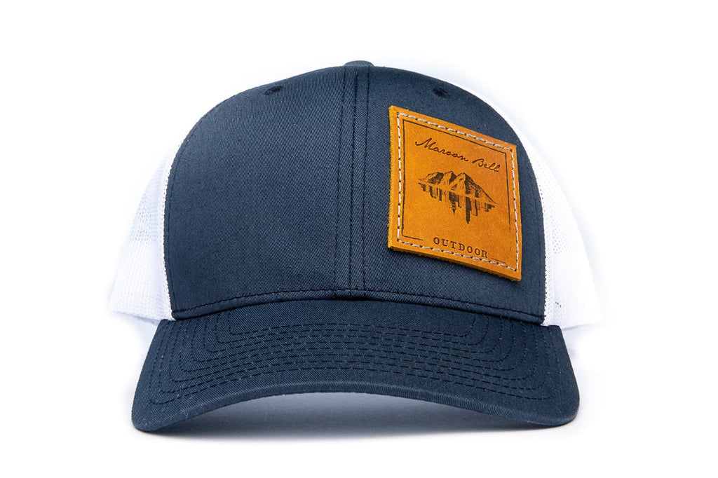 Navy Blue & White Trucker Hat | Offset Leather Hats Maroon Bell Outdoor