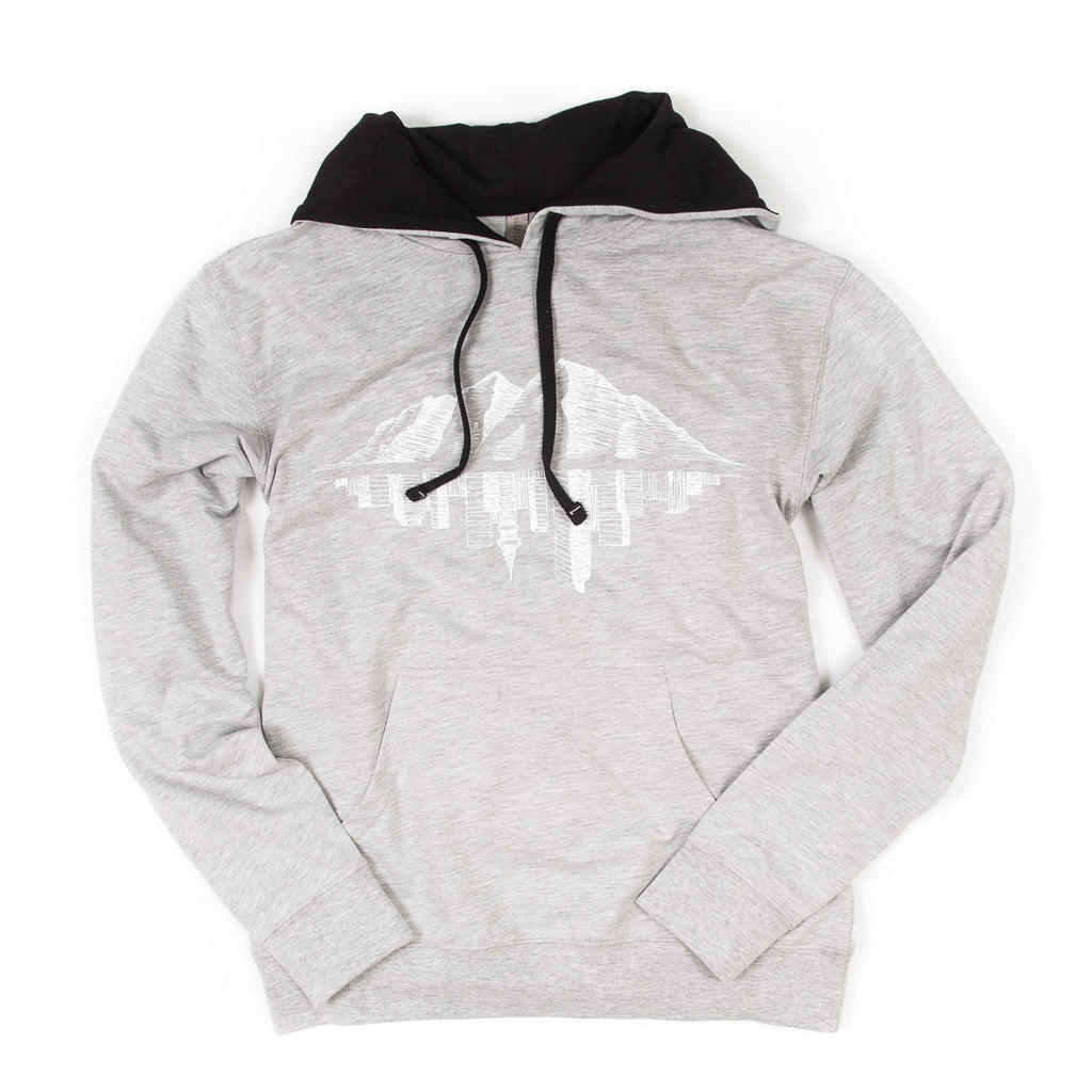Hopkins Avenue Hoodie | Light French Terry | Heather Grey White Print | Maroon Bell Outdoor®