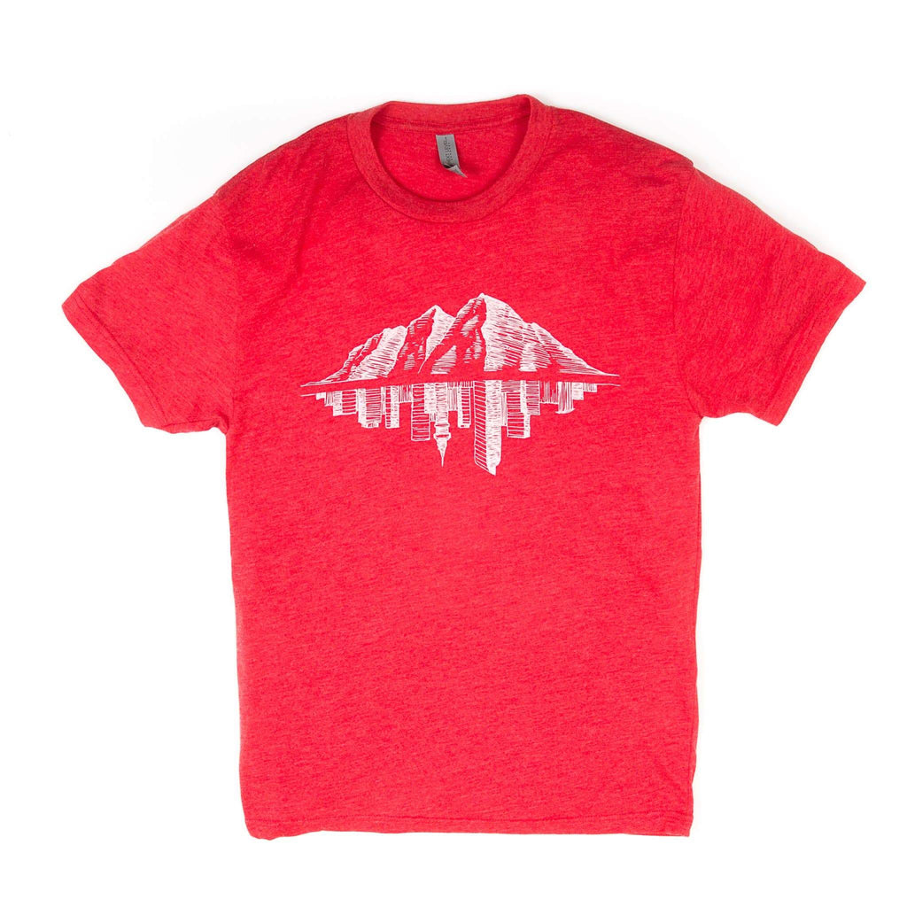 Maroon Bell Tee Shirt | Mountain Reflection | Red | Maroon Bell Outdoor®