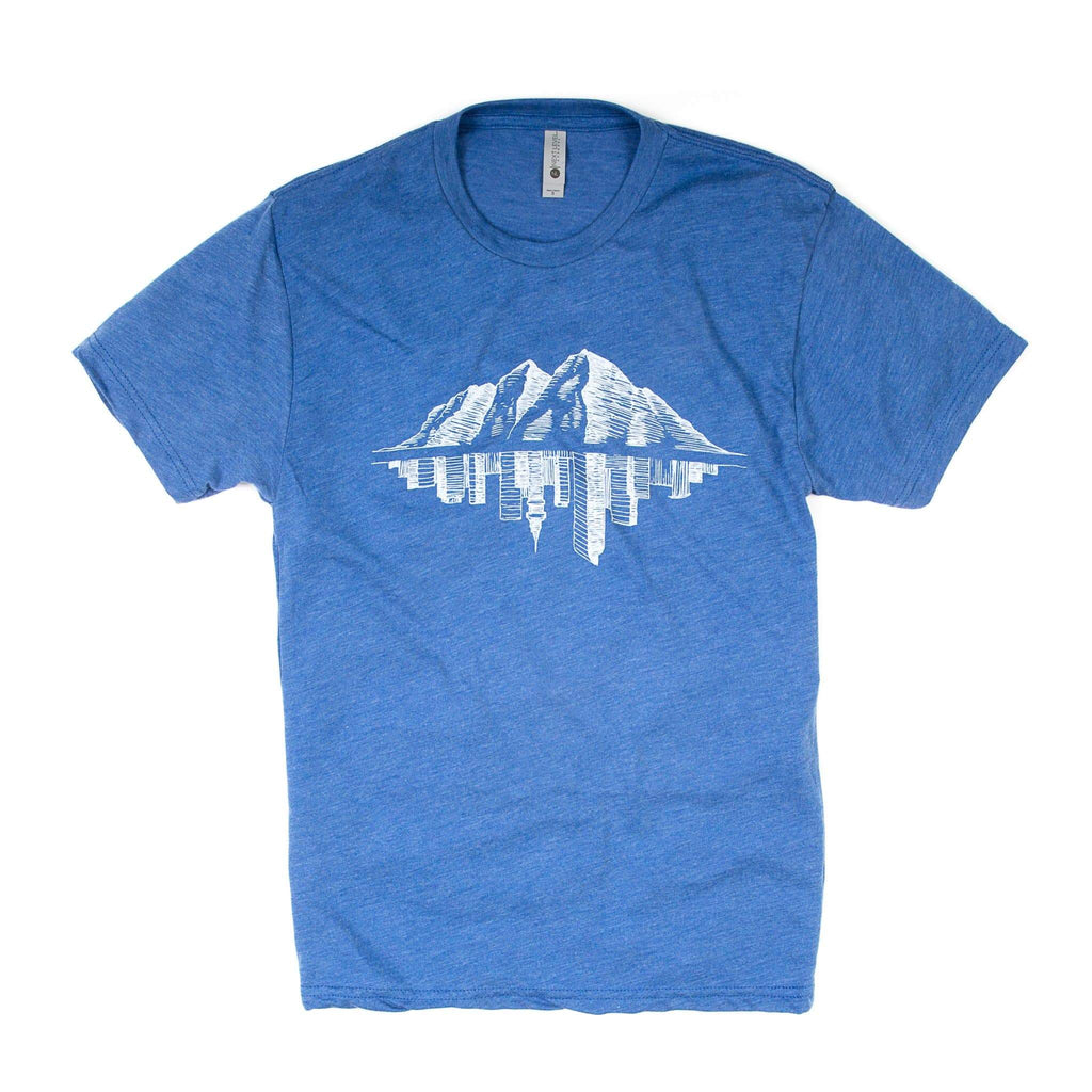Maroon Bell Tee Shirt | Mountain Reflection | Sky Blue | Maroon Bell Outdoor®