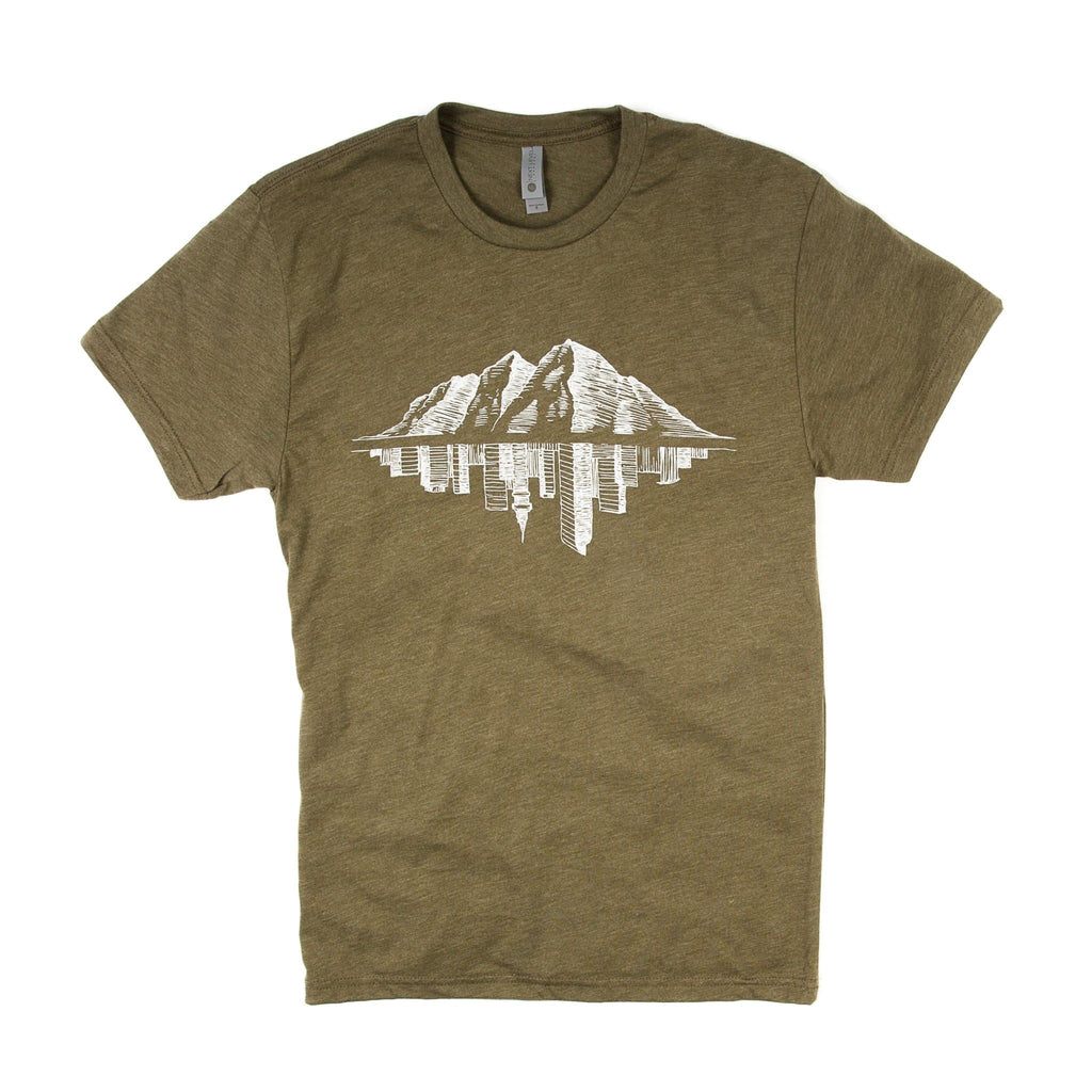 Maroon Bell Tee Shirt | Mountain Reflection | Military Green | Maroon Bell Outdoor®