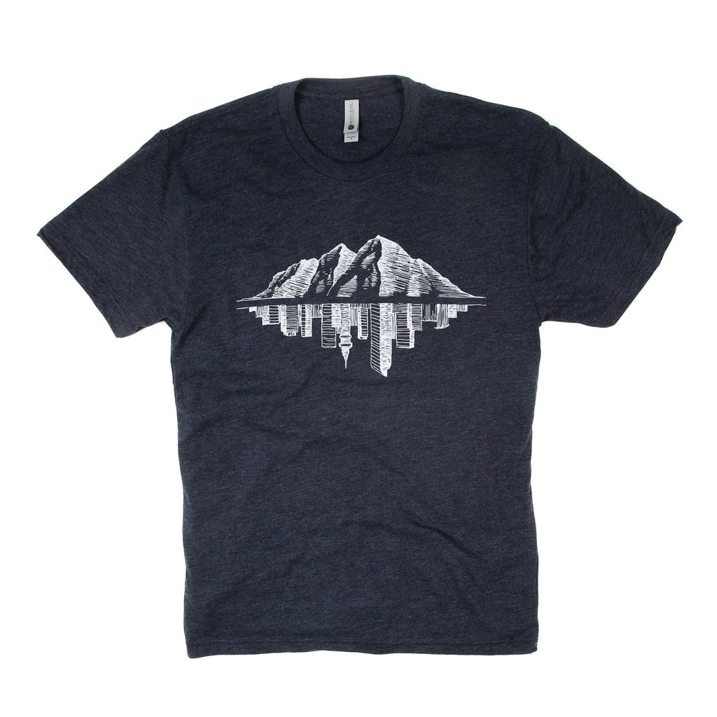 Maroon Bell Tee Shirt | Mountain Reflection | Navy Blue | Maroon Bell Outdoor®
