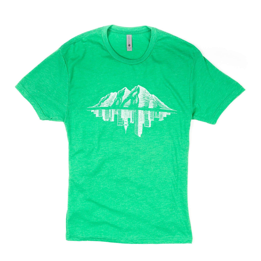Maroon Bell Tee Shirt | Mountain Reflection | Lucky Green | Maroon Bell Outdoor®