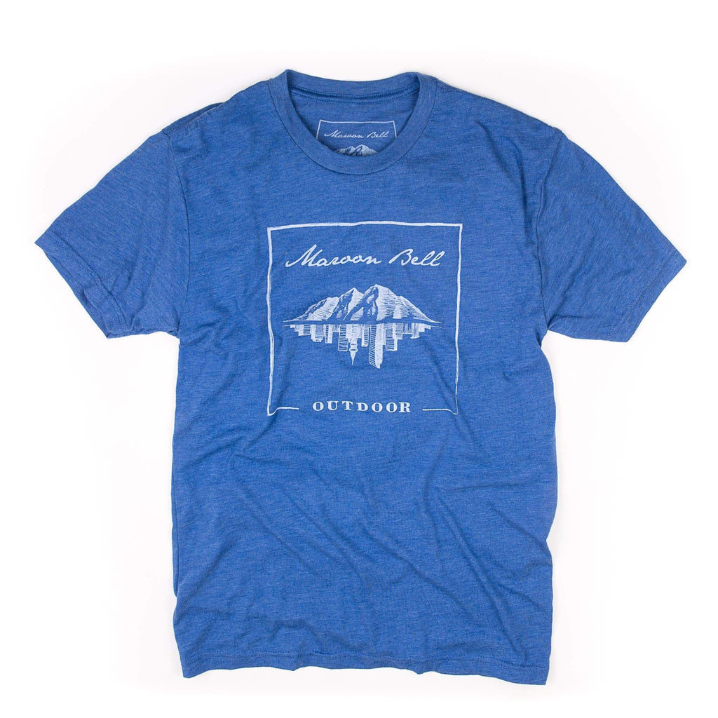 Maroon Bell Tee Shirt | Mountain Reflection | Sky Blue