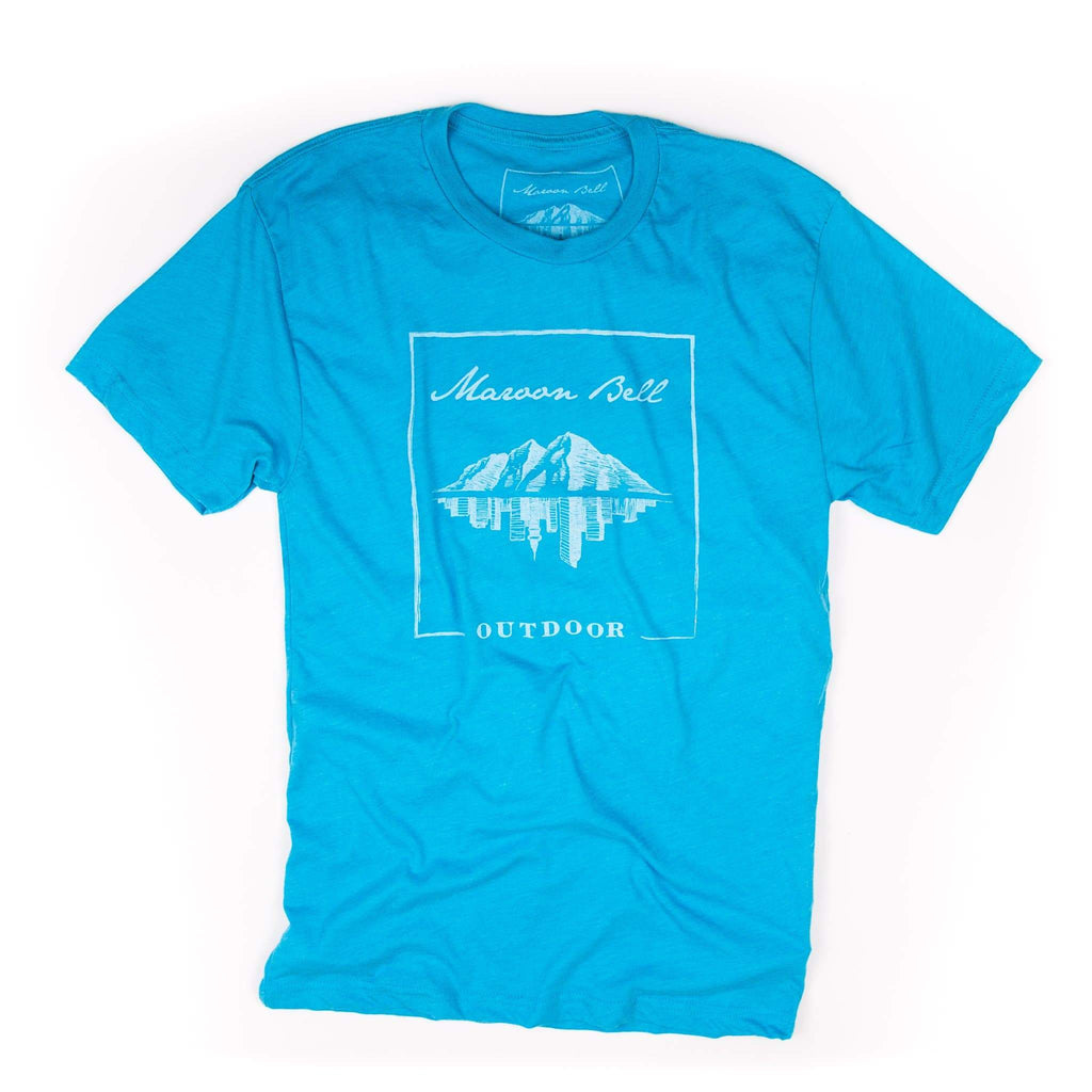 Maroon Bell Tee Shirt | LOGO | Light Blue | Maroon Bell Outdoor®