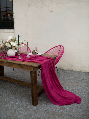 Moody Magenta Hand Dyed Gauze Table Runner