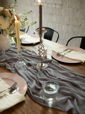 Silver Gray Hand Dyed Gauze Table Runner