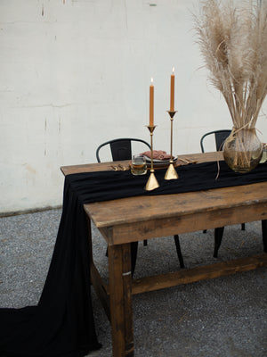 Black Hand Dyed Gauze Table Runner
