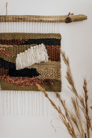 Brown Patchwork Woven Wall Hanging