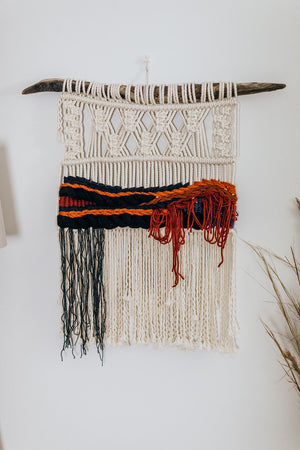 """Blue Bloodstone"" Macrame Wall Hanging"