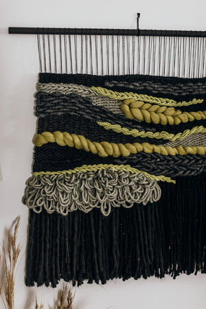 Black & Chartreuse Wall Weaving (Made to Order)