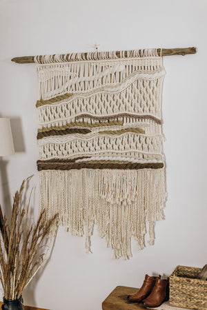 Neutral Statement Wall Hanging on Driftwood