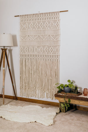 Retro Flowers Macrame Panel