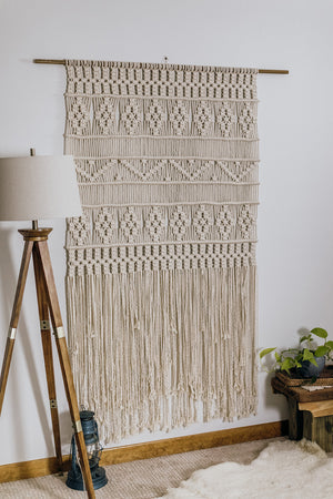 Retro Flowers Macrame Panel (Made to Order)
