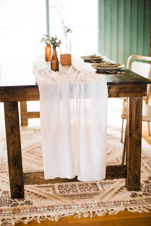 White Undyed Gauze Table Runner