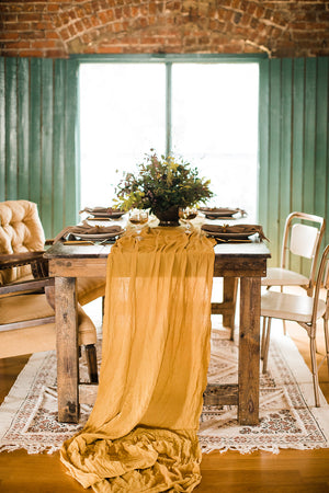 Mustard Hand Dyed Gauze Table Runner