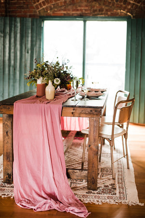 Mauve Hand Dyed Gauze Table Runner