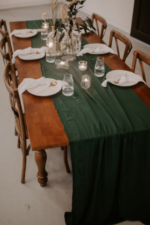 Emerald Hand Dyed Gauze Table Runner