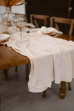 Ecru Hand Dyed Gauze Table Runner