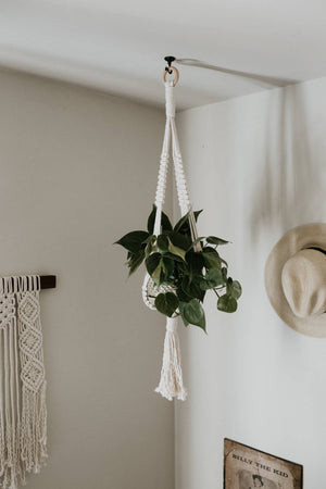 "Large Macrame Plant Hanger with Wood Beads ""Tessa"""
