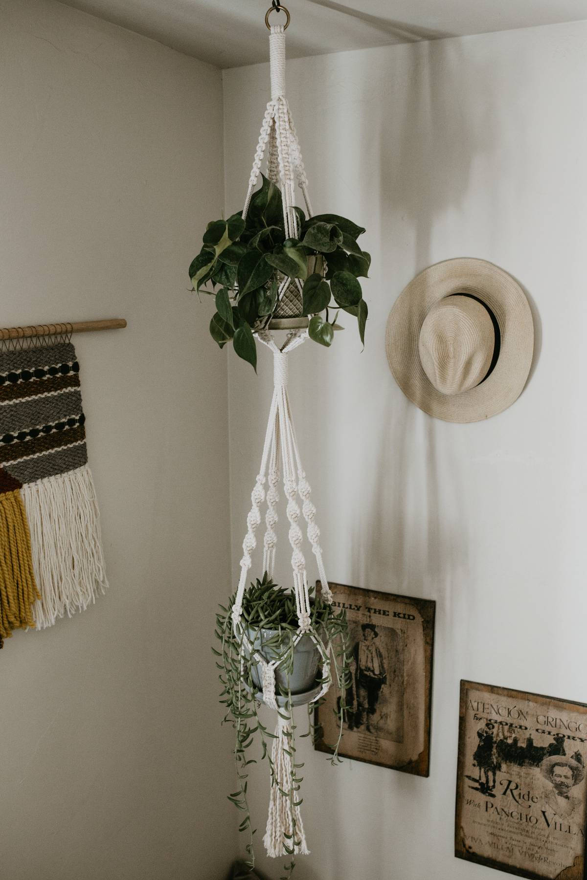 Double Macrame Plant Hanger Large Mosshound Designs