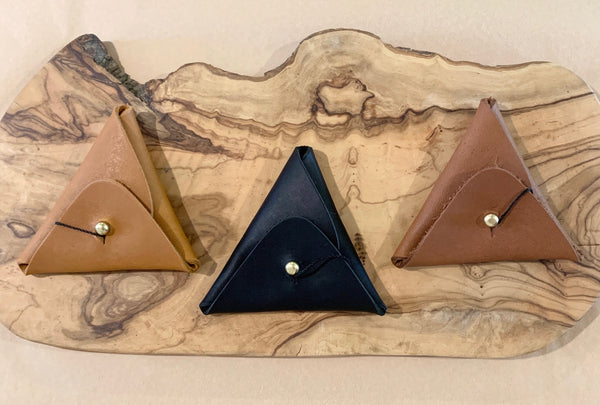 Leather Triangle Change Pouches