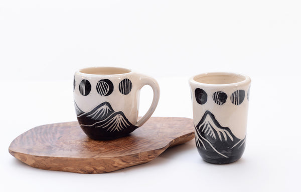 Ceramic Mountain and Moon Phases Cup