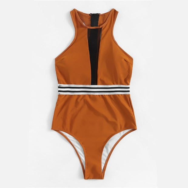 Brown striped One Piece